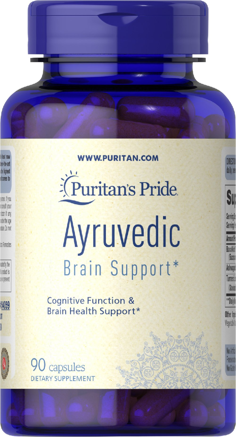 Ayurvedic Brain Health Support Bacopa, Ashwagandha, Turmeric <ul><li>450 mg of BacoMind® Bacopa Extract to Support Cognitive Function and Brain Health**</li><li>450 mg of Ashwagandha Root</li><li>100 mg of Curcuminoids, Plant Based Antioxidants from Turmeric</li></ul><p></p><p>BacoMind® is derived from the plant Bacopa monnieri Linn. This important Ayurvedic herb supports brain health.**   Ashwaganda root is known as the