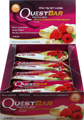 Quest Protein Bar White Chocolate Raspberry <p><strong>From the Manufacturer:</strong></p><p>Don't throw away your  hard work by eating other nutrition bars! Quest Bars are the perfect  nutrition bars for anyone looking to get top quality protein. The perfect blend of rich white chocolate chunks and succulent raspberries gives you the ultimate flavor celebration! White Chocolate Raspberry is ready to become your favorite new dessert, snack on-the-go or post-work
