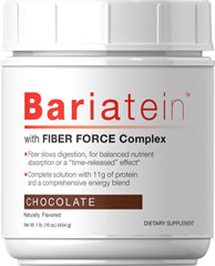 "Bariatein™ with Fiber Smart Complex Chocolate <p><strong></strong></p><ul><li>Contains Oat Fiber</li><li>11 Grams of Protein per serving</li><li>Enhanced with Raspberry Ketones</li></ul><p>Enjoy the rich, chocolate goodness of naturally flavored Bariatein™ with Fiber Force Complex. Fiber helps slow digestion for balanced nutrient absorption or a ""time-released"" effect.** This complete solution has 11 grams of"