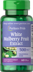 White Mulberry Fruit 5:1 Extract 500 mg <p>Dried White Mulberries are found in health food stores and are becoming a popular snack. The dried mulberry fruit is delicately sweet and has a taste similar to dried figs and is sometimes referred to as a superfruit. The white mulberry fruit is a source of flavonoids.  Native to southern Europe, the Middle East and Indian subcontinent, Mulberries grow on trees and are eaten raw and also dried. The leaves are often made into tea, which has been us
