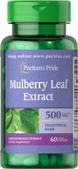 Mulberry Leaf 4:1 Extract 500 mg <p></p><p>•	Used in Ayurvedic Practice  </p><p>•	Traditional Herb  </p><p>Mulberry Leaves have been treasured for thousands of years. Traditionally enjoyed as a tea, mulberry leaves have no caffeine and naturally contain the bioflavonoid Rutin.<sup>1</sup> The leaves of the mulberry are known to naturally contain amino acids.<sup>2</sup>   People in India and China have been using the dark green sh