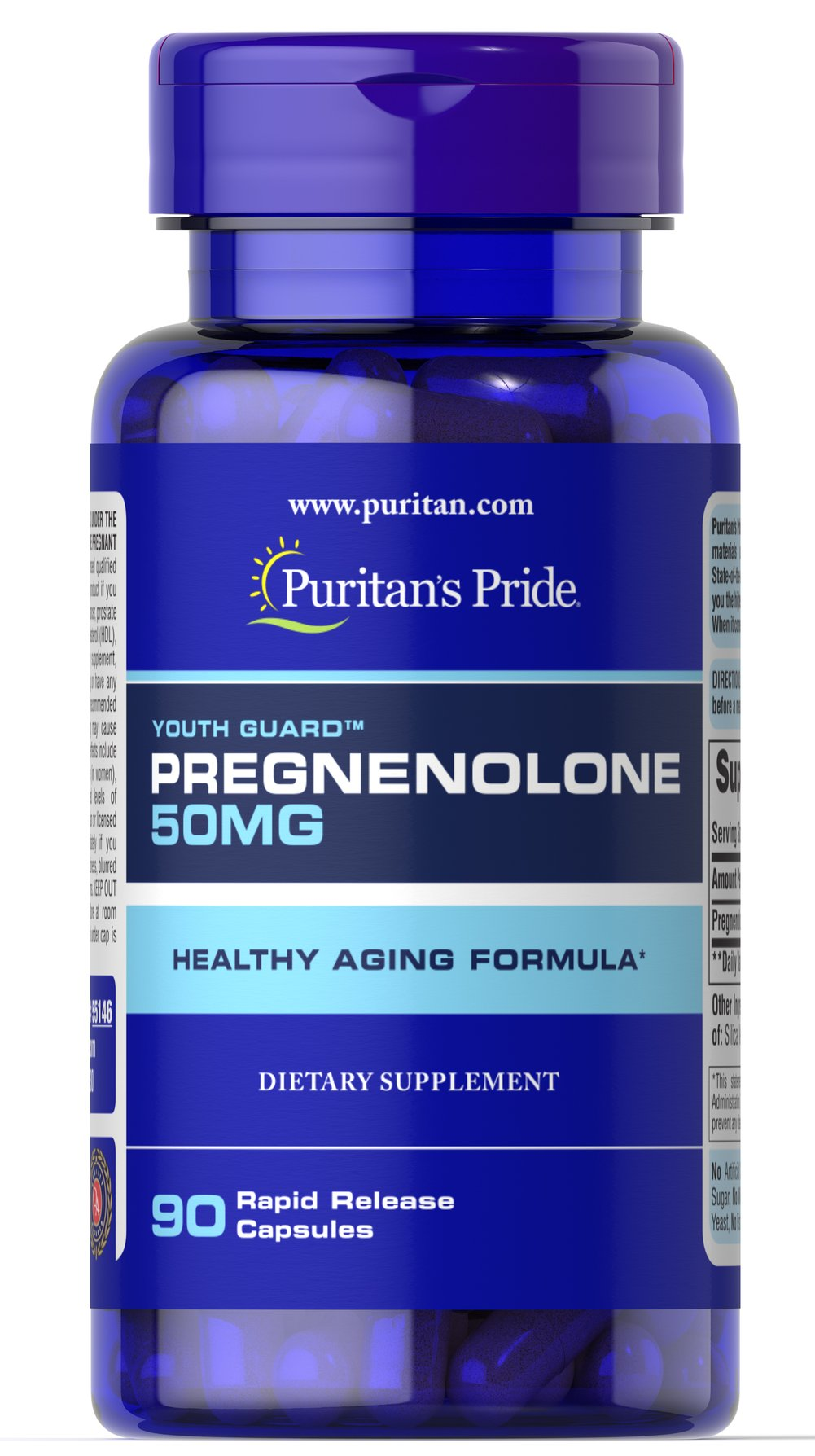 Pregnenolone 50 mg <p>Pregnenolone is a substance our bodies produce in the adrenal glands and liver . Since Pregnenolone levels can decline with age, just one serving a day of Puritan's Pride Pregnenolone can contribute to your healthy aging regimen.**</p> 90 Capsules 50 mg $16.49