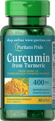 Curcumin 400 mg from Turmeric Extract <p>    •    Helps fight cell-damaging free radicals**<br />    •    Supports immune and joint health**<br />    •    The high intake of turmeric in India is believed to contribute to brain health**</p><p>The active ingredients in Turmeric include beneficial flavonoids c