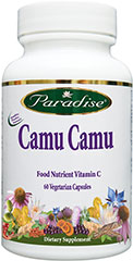 Camu Camu Extract 400 mg <p><strong>From the Manufacturer's Label:</strong><br /></p><ul><li>Food Nutrient Vitamin C</li><li>True Full Spectrum</li><li>Naturally Extracted</li><li>No Added Fillers/Flows</li><li>No Toxic Solvents</li><li>No Harsh Chemicals</li><li>No Fractionizing Gases</li></ul><p>Paradise Camu Camu fruit is a potent 4:1 concentration. Its true