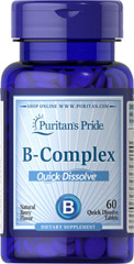 Quick Dissolve Vitamin B-Complex Berry Flavor <p>B-Complex vitamins are involved in converting food into energy and they help maintain the health of nerves and the heart.** These quick dissolve tablets have a great taste and they are an excellent source of B-Complex vitamins. B-Vitamins play an important role in energy metabolism in the body.** B-Complex vitamins are essential for the maintenance of healthy nervous tissue.** Delicious natural berry flavor.<br /><br />Each quick