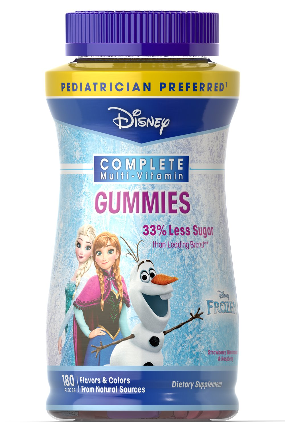Disney Frozen Complete Multi-Vitamin Gummies <p><strong>From Manufacturer's Label:</strong><br /><br />Disney Frozen  Multivitamin Gummies contain over 10 Vitamins and Minerals, including  Vitamin A for eye health, B Vitamins for energy metabolism, and Vitamins  C & D to support immune function.**  <br /><br />Available in fun shapes and 3 fantastic flavors strawberry, watermelon and raspberry.  For healthy growth and developmen