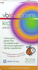 Kids Orange Vitamin Stickpacks <p><strong>From the Manufacturer's Label: </strong></p><p>VoloKids Stickpacks offer a delicious, convenient and healthy dietary supplement for kids.  Dissolves with a touch of fizz; it tastes great without any sugar; and includes a blend of seventeen different fruits for natural, delicious, nutritious flavor.<br /></p> 30 Pack  $22.99