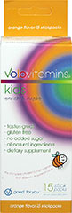 Kids Orange Vitamin Stickpacks <p><strong>From the Manufacturer's Label:</strong> </p><p>VoloKids Stickpacks offer a delicious, convenient and healthy dietary supplement for kids.  Dissolves with a touch of fizz; it tastes great without any sugar; and includes a blend of seventeen different fruits for natural, delicious, nutritious flavor.<br /></p> 15 Pack  $9.00
