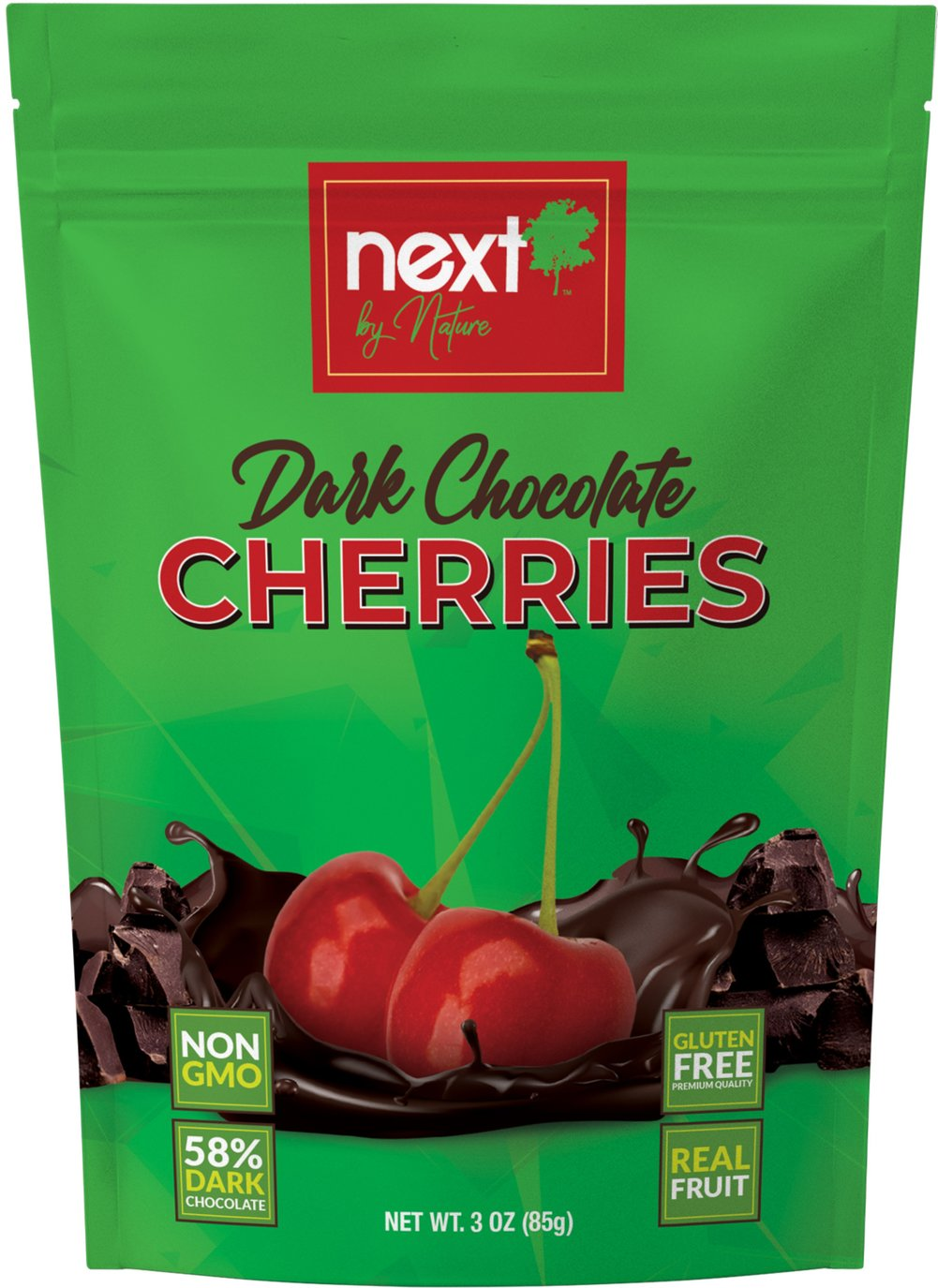 Dark Chocolate Cherries <strong>From the Manufacturer:</strong><br /><br />Uniquely different. What's Next?!<br /><br />With Next by Nature you will taste the organic dried fruits, nuts and snacks coated with dark chocolate the way it was meant to be, the Next way.<br /><br />True cherries, true dark chocolate, truly delicious. 3 oz Bag  $5.99