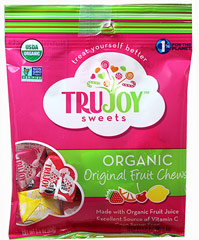Organic Fruit Chews <p><strong>From the Manufacturer:</strong></p><p>An organic version of a popular candy favorite!</p><ul><li>Cherry, Lemon, Orange and Strawberry flavors</li><li>Gluten free</li><li>Vegan</li><li>Kosher</li><li>1% of sales donated to environmental causes</li></ul> 2.3 oz Bag  $4.99