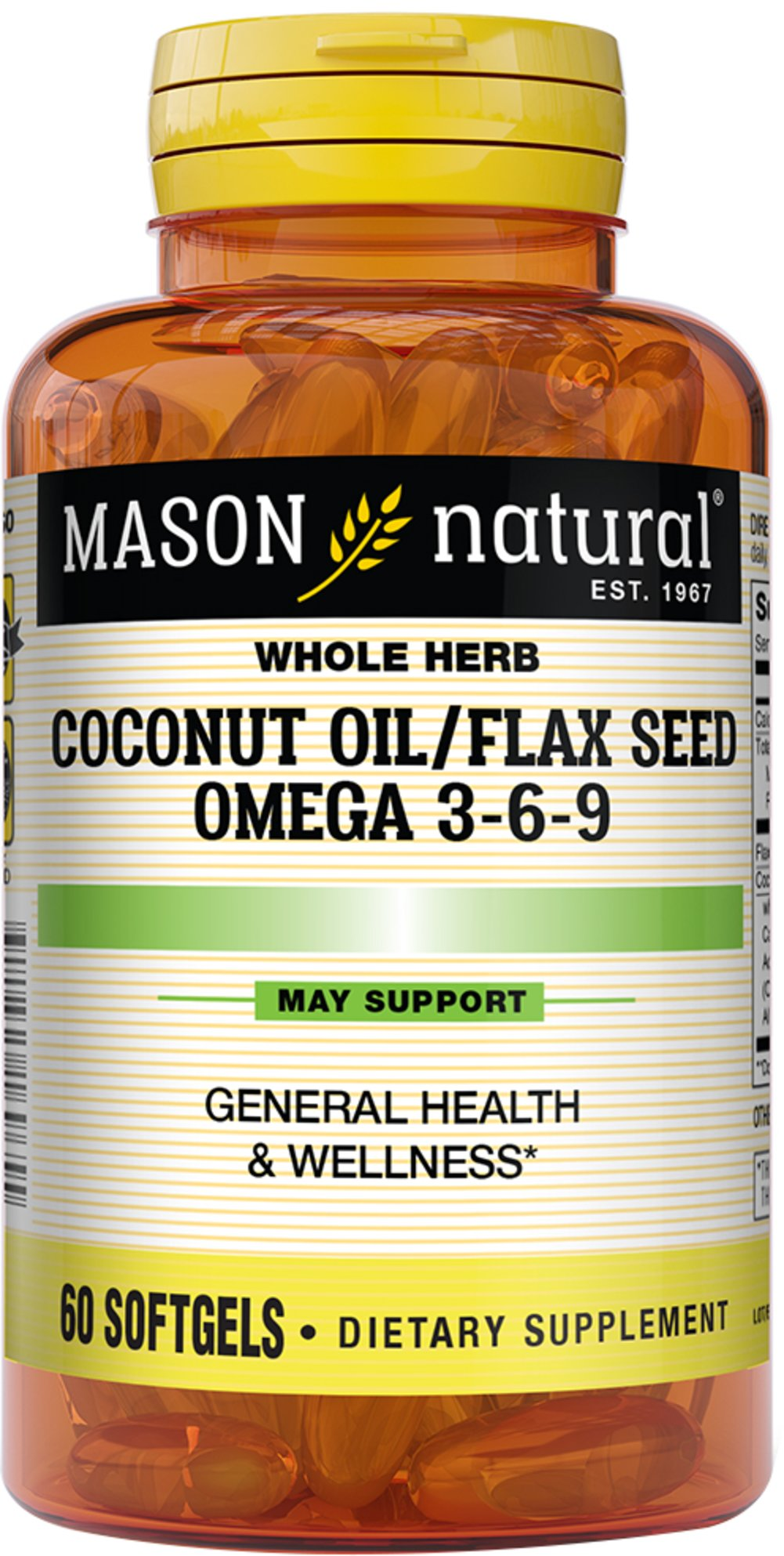 Coconut Oil & Flax Seed 500/500mg <p><strong>From the Manufacturer's Label:</strong></p><p>Essential Fatty Acids from a Vegetable Source</p><p>Manufactured by Mason Naturals</p><p></p> 60 Softgels  $6.99