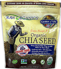 Organic Chia Seed Raw Organics™ is a line of USDA Certified Organic, RAW foods.  Garden of Life's Super Omega 3 Chia Seed is specially grown for us on family farms. 12 oz Bag  $9.99