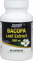 Bacopa Leaf Extract 500 mg <p><strong></strong><strong>From the Manufacturer's Label:</strong><br /></p><p>Bacopa monnieri is a revered Ayurvedic herb.<br /><br />Manufactured by Nutritional Concepts</p><p></p><p></p><p></p> 60 Capsules 500 mg $4.79