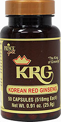 Korean Red Ginseng Root 518 mg <p>From the Manufacturer's Label:</p><p>Throughout the ages, Korean Red Ginseng has been prized as one of the most valuable herbs on earth.  It has been consumed by millions of people all over the world.  Prince Gold® KRG Korean Red Ginseng roots are harvested from their natural environment of nutrient-rich soil in Korea.  Each capsule contains 518 mg of pure Korean Red Ginseng powder, there are no additives or