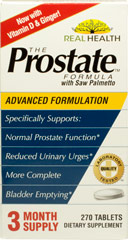 Prostate Formula with Saw Palmetto <p><strong>From the Manufacturer:</strong></p><p>A comprehensive formula that includes saw palmetto, lycopene and pumpkin seed extract. This multi-nutrient blend includes a combination of herbs and nutrients to support prostate health.*</p><p>Manufactured by Real Health®</p> 270 Tablets  $30.99