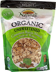 Organic Unsweetened Cinnamon Raisin Muesli <p><strong>From the Manufacturer:</strong><br /><br />Whether you've finished a long day of adventuring or you are just preparing for the day, you'll find this Muesli irresistible.  Heat it in a bowl or sprinkle over yogurt for a guilt-free treat.  </p><p>This tasty cinnamon raisin flavor with apples and walnuts will warm your heart and put a smile on your face.</p> 10 oz Bag  $9.