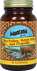 Bee Pollen, Royal Jelly and Propolis <p><strong>From the Manufacturer:</strong></p><p>This blend of products from the hive contains vitamins, minerals, enzymes and amino acids. Our royal jelly is tested to ensure the presence of 10-HDA.</p><p>Manufactured by Montana Naturals<br /></p> 90 Capsules