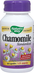 Chamomile Standardized 345 mg <p><strong>From the Manufacturer:</strong></p><p>Chamomile Extract is standardized to 1.2% apigenin. It is used for its soothing effects.*</p><p>Manufactured by Nature's Way</p> 60 Capsules 345 mg