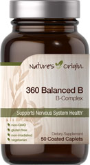 360 Balanced B Complex  50 Coated Caplets  $9.99