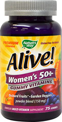 "Alive!® Women's 50+ Gummy Multi Vitamin <p><strong><span style=""color:black;"">From the Manufacturer:</span></strong></p><p><span style=""color:black;""> </span></p><ul><li><span style=""color:black;"">26 Fruits and Vegetables</span></li><li><span style=""color:black;"">Full B-Complex</span></li><li><span style=""color:b"