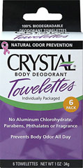Body Deodorant Towelettes <strong>From the Manufacturer:</strong><br />Feel fresh on the go, wherever you happen to be. Crystal-infused, 100% biodegradable unscented towelettes offer all the great benefits of Crystal's awarding-winning deodorant products in a convenient packet.<br /><br />Pop some into your pocket or purse, take them to the gym, on a trip, when camping…and stay fresh all day long. Made with natural mineral salts. 6 ea Pack  $2.09