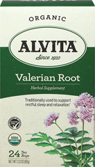 Organic Valerian Root Tea <p><strong>From the Manufacturer:</strong></p><p>Alvita Valerian Root Tea is made with premium-quality, organic valerian root, and possesses a distinctly penetrating aroma and a flavor that is initially sweet, with a faint bitter finish.</p> 24 Bags  $13.99