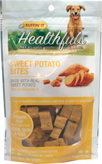 Healthfuls Sweet Potato Snack Bites <strong>From the Manufacturer:</strong>  Ruffin' It Healthfuls Sweet Potato Snack Bites are packed with nutritious goodness and a natural sweet flavor  that dogs love!  Fun, bite size biscuits are baked to a crunchy consistency. 6 oz Bag  $4.49