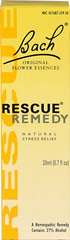 Rescue Remedy <p><strong>From the Manufacturer's Label: </strong></p><p>An all natural form of healing that can reduce everyday stress and help maintain control of your health.** Effective in virtually any situation that causes stress or anxiety.**  Helps restore a sense of calm and control.**  No artificial additives.</p><p>Suitable for Vegans</p><p>Manufactured by BACH</p> 20 ml Liquid  $13.99
