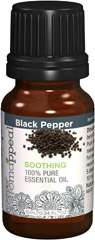 "Black Pepper 100% Pure Essential Oil <p>Allow the sensual, cleansing fragrance of Black Pepper to naturally awaken the passion within you. Black Pepper is an aromatherapy experience that can bring harmonious balance to your life. </p><ul><li><span class=""bold-pink"">Traditional Uses:</span> Vitality, cleansing, sensuality.</li><li><span class=""bold-pink"">History:</span>  Allow the sensual, cleansing fragrance of Black"