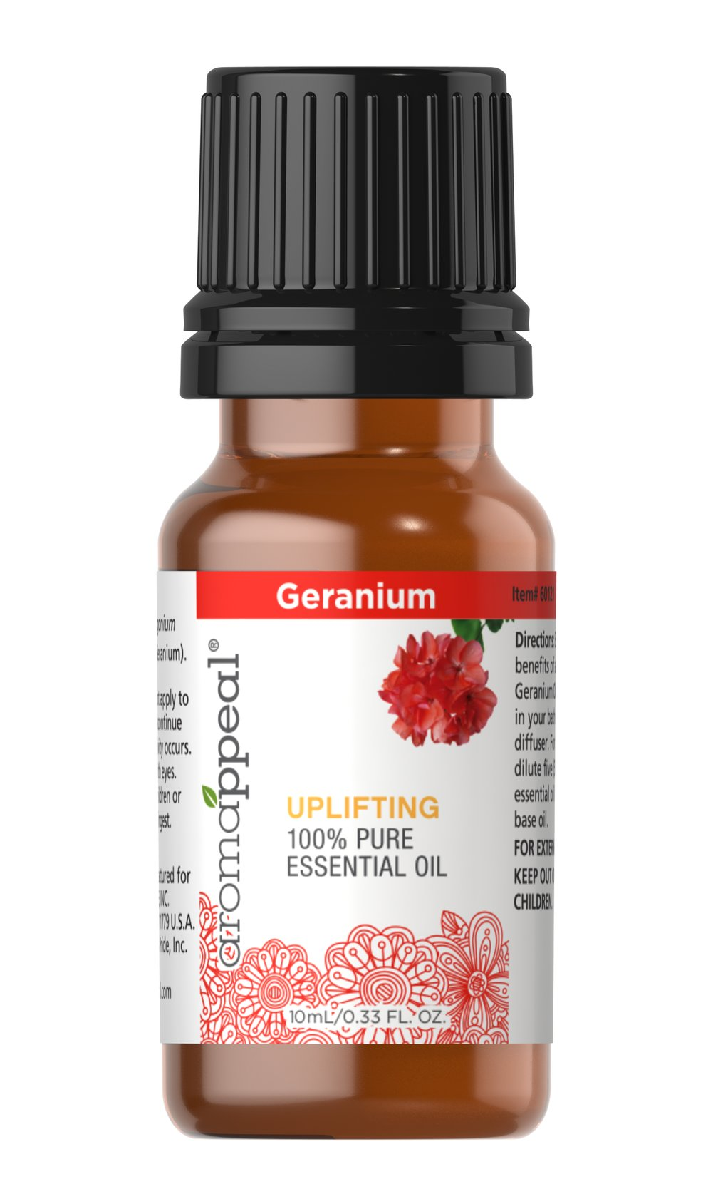 "Geranium 100% Pure Essential Oil <p>Indulge in aromatic paradise with the strong yet sweet essence of Geranium. Geranium has an uplifting scent that will invigorate your senses. <br /></p><ul><li><span class=""bold-pink"">Traditional Uses:</span> Cleansing, purifying,  and uplifting.  </li><li><span class=""bold-pink"">Botanical Name:</span>  Pelargonium graveolens  </li><li><span class=&quo"