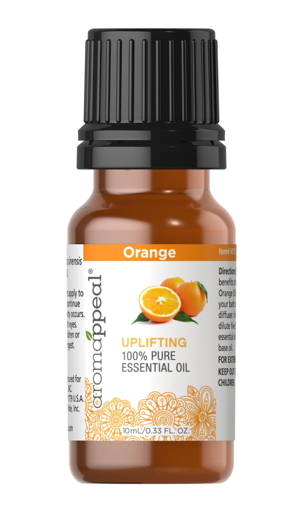 Orange 100% Pure Essential Oil Rejuvenating and scrumptious especially when rubbed on the temples. One of the most refreshing and uplifting of oils. Supports digestion, circulation, skin soothing, neurotonic for overall brain and nervous system health. 10 ml Oil  $7.99