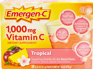 "Emergen-C Packets - Tropical <p><strong>From the Manufacturer's Label: </strong></p><p>Flavored Fizzy Drink Mix - 30 Packets</p>The powerful blend of Vitamin C, 24 nutrients, 7 B Vitamins, antioxidants and electrolytes supports your immune system, increases your metabolic function, and enhances your energy level to help really feel ""the good!""**<p></p> 30 Packets 1000 mg $10.49"