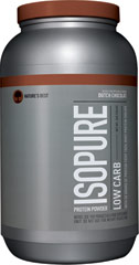 Isopure Low Carb Dutch Chocolate <p><strong>From the Manufacturer's Label: </strong></p><p>Nature's Best Zero Carb Isopure contains 50 grams of 100% Ion Exchange Whey Protein Isolate. Any and all impurities typically found in most whey proteins have been removed to provide you with a great tasting, lactose free, fat free, glutamine enriched, state of the art carbohydrate free protein supplement.</p> 3 lbs Powder  $40.99