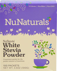 White Stevia Extract Powder Non-Bitter <p><strong>From the Manufacturer's Label</strong>:<br /></p><ul><li>Premium Natural Sweetener</li><li>Non Bitter</li><li>0 Calories</li><li>100 Packets<br /></li></ul><p>Manufactured by NuNaturals</p><p></p> 100 Packets  $5.99