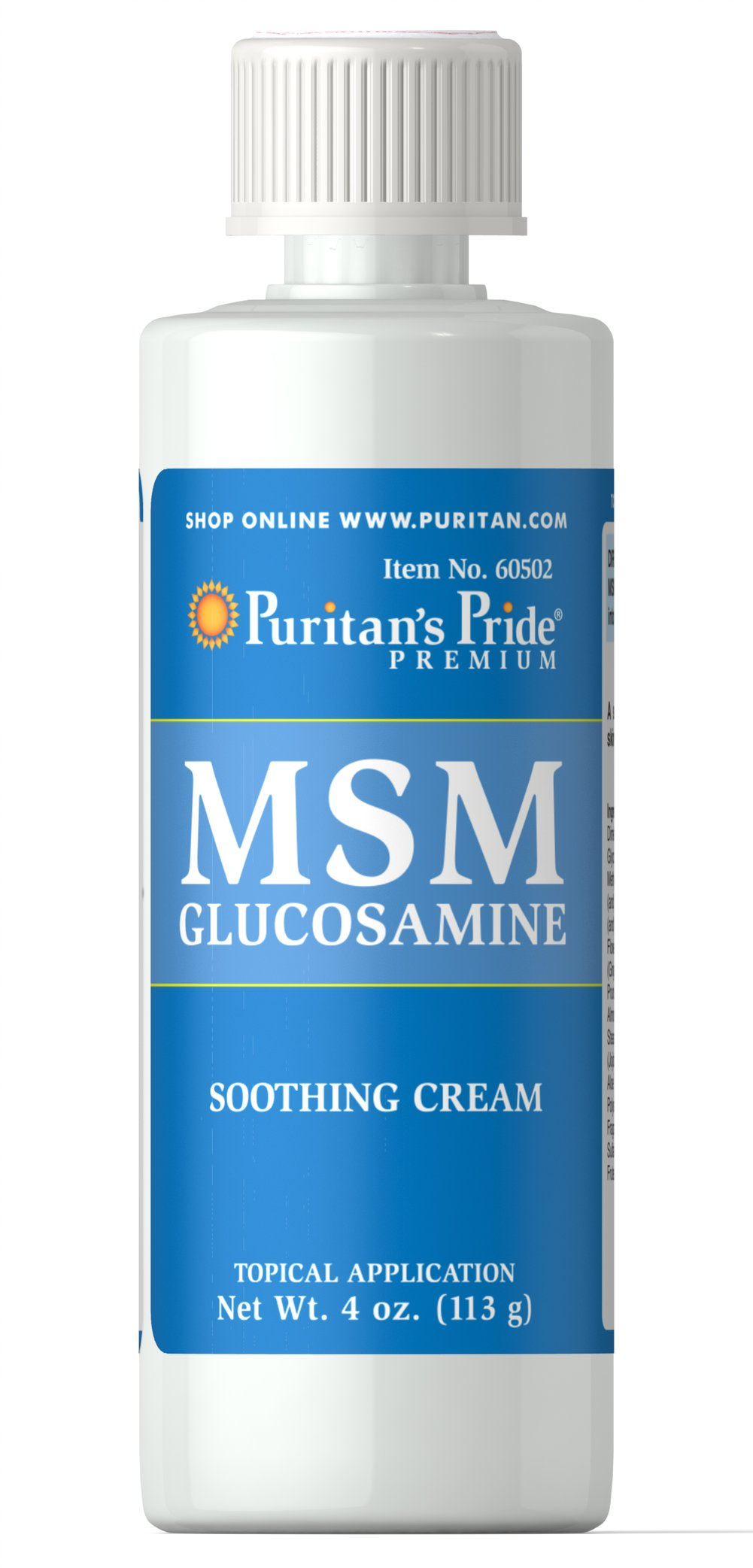 MSM Glucosamine Cream <p>A soothing cream for the skin and joints.  Gently massage <strong>MSM with Glucosamine Cream</strong> into the skin as required, or follow the advice of your health care professional.</p><p></p> 4 oz Cream
