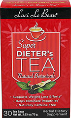 Super Dieter's Tea Original <p><strong>From the Manufacturer's Label: </strong></p><p>Naturally caffeine free</p><p>Laci Le Beau® Super Dieter's Tea blends nature's finest botanicals to create a tea with inspiring aromas and ingredients. Natural Botanicals Herbal tea combines tangy orange and sweet papaya, spearmint, licorice root and cinnamon with chrysanthemum and a touch of honeysuckle. To complete this blend, senna leaf is added for