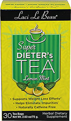 "Super Dieter's Tea® - Lemon Mint <p><b>From the Manufacturer's Label: </p></b><p>Supports weight loss efforts</p><p>Helps eliminates impurities</p><p>Naturally caffeine free</p><p>Laci Le Beau® Super Dieter's Tea® Dieting can be difficult. But it can also be satisfying, especially with the help of this flavorful, all natural Super Dieter's Tea. Laci says, ""My teas have helped a lot of my friends succeed. The"