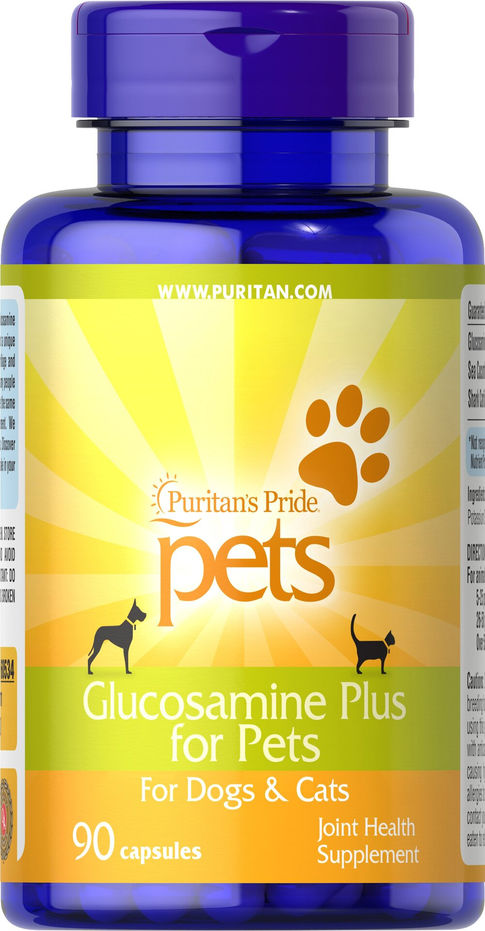 Glucosamine Plus for Pets <p>We're pet lovers, too! That is why we created Glucosamine Plus for Pets —  a unique blend of Glucosamine Sulfate, Shark Cartilage and Sea Cucumber — the same popular ingredients found in many people products.</p> 90 Capsules  $24.99