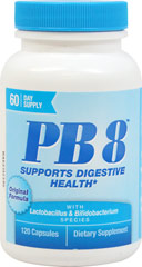 PB 8® Probiotic Acidophilus <p><strong>From the Manufacturer's Label: </strong></p><p>A Dietary Supplement For Supporting A Healthy Digestive System**</p><p>14 Billion Good Bacteria per serving at time of manufacture</p> 120 Capsules 14 billion $11.49