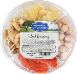 Island Getaway Fruit Tray <p><strong>From the Manufacturer:</strong></p><p>The perfect tropical snack getaway! We combine small batch roasted and salted creamy macadamia nuts, succulent and sweet pineapple tidbits, sweet & crunchy banana chips, and round it off with bright orange sweetened tropical mango slices.</p><ul><li>Roasted & Salted Macadamias</li><li>Banana Chips</li><li>Mango</li><li>Pine