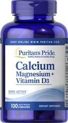Calcium Magnesium Citrate plus Vitamin D <p>Calcium and Magnesium play essential roles in maintaining proper bone mineralization. Calcium and Magnesium are also involved in muscle contractions and nerve impulses.**</p> 100 Capsules  $11.99