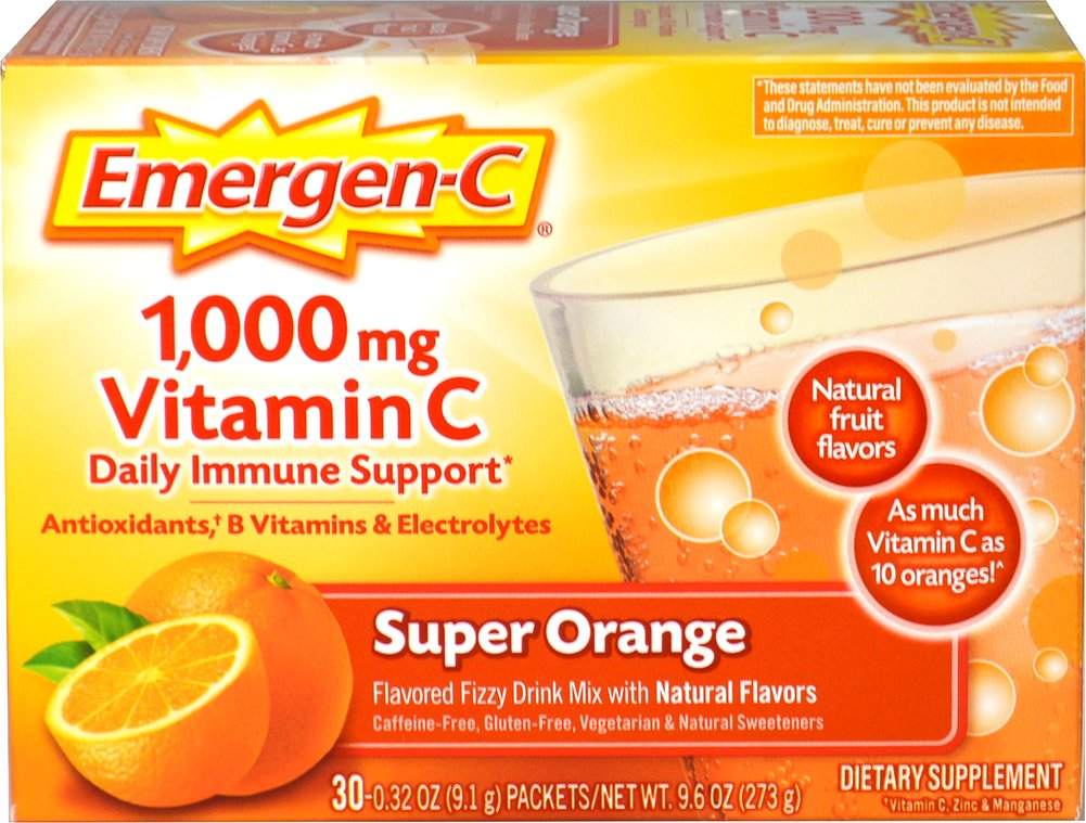 "Emergen-C Packets - Super Orange <p><strong>From the Manufacturer's Label: </strong></p><p>Flavored Fizzy Drink Mix - 30 Packets</p>The powerful blend of Vitamin C, 24 nutrients, 7 B Vitamins, antioxidants and electrolytes supports your immune system, increases your metabolic function, and enhances your energy level to help really feel ""the good!""**<p></p> 30 Packets 1000 mg $10.49"