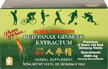 Red Panax Ginseng Extractum <p><strong>From the Manufacturer's Label: </strong></p><p>Red Panax Ginseng, the root of Araliaceae, is a precious natural product grown in Mount Chang Pai, China.  Each 10cc bottle contains a non-alcoholic blend of extra strength purified water, 6 year-old Chinese Red Panax Ginseng Extract, Honey and Alcohol.  For full strength, use the enclosed straws while consuming the entire vial.</p><p>Manufactured by PRINCE OF PEACE
