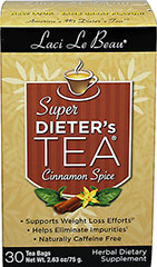 "Super Dieter's Tea® - Cinnamon <p><b>From the Manufacturer's Label: </p></b><p>Supports weight loss efforts</p><p>Helps eliminates impurities</p><p>Naturally caffeine free</p><p>Laci Le Beau® Super Dieter's Tea® Dieting can be difficult. But it can also be satisfying, especially with the help of this flavorful, all natural Super Dieter's Tea. Laci says, ""My teas have helped a lot of my friends succeed. They'"