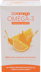 Coromega Omega-3 Squeeze Orange <p><strong>From the Manufacturer's Label: </strong></p><p>Omega3 squeeze from Cormega provides 2 important fatty acids:  EPA for healthy heart, DHA for strong mental focus.</p><p>• Guaranteed DHA & EPA Content</p><p>• Joint Health & Mobility</p><p>• Delicious Orange flavor</p><p>• No sugar or artifical sweetners</p><p>• No dairy, yeast, starch, wheat or gl