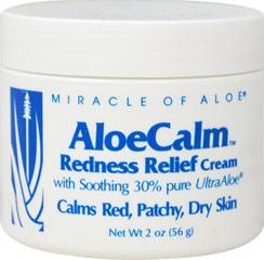 AloeCalm Redness Relief Cream <p><strong>From the Manufacturer's Label: </strong>Redness Relief Cream with Soothing 30% pure UltraAloe<strong>. </strong> Calms red, patchy and dry skin.<strong> <br /></strong></p> 2 oz Cream  $9.95