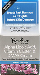 "Reviva® Labs Reviva Alpha Lipoic Acid Vitamin C Ester & DMAE Cream <p><strong>From the Manufacturer's Label: </strong></p><p>To firm skin as it fights future skin damage, Reviva has encased these 3 unique ingredients in a soy liposome - for deep penetration and time-release action. Thus, as your body rests during the night the nutrients help ""lift"" skin as they fight the effects of time.</p><p>Manufactured by  Reviva® Labs.&lt"