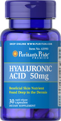 Hyaluronic Acid 50 mg <p>Helps lubricate joints**</p> <p>Hyaluronic Acid is a polysaccharide found in almost all adult connective tissue, including joints, ligaments, tendons and skin.** Just one Hyaluronic Acid capsule a day can help maintain the fluid between your joints, providing the cushioning and lubrication necessary for easy movement.**</p> 30 Capsules 50 mg $10.49