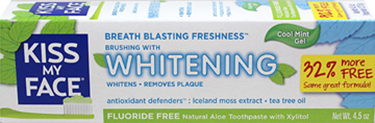 "Kiss My Face® Aloe Vera Gel Whitening Toothpaste <p><strong>From the Manufacturer's Label:</strong></p><p><borganic aloe="""" b="""" gel<="""" vera=""""></borganic></p><p><strong>Cool Mint Freshness</strong></p><p><strong>Now with more peppermint oil for fresher breath!</strong></p><p>With:</p><p>-Olive Leaf Extract</p><p>-Iceland M"