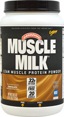 Muscle Milk® Chocolate <p><strong>From the Manufacturer's Label:</strong></p><p>Precision Protein Blend:</p><p>Muscle Milk® contains a unique blend of proteins designed to provide essential nutrients to aid exercise recovery and muscle growth.*</p><p>The lean lipids used in Muscle Milk® are a blend of canola oil, sunflower oil, and median chain triglycerides (MCTs)</p><p>Muscle Milk's® carbohydrate mixt